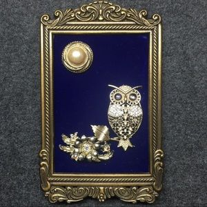 FRAMED JEWELRY ART PICTURE OF OWL/MOON OOAK GIFT!